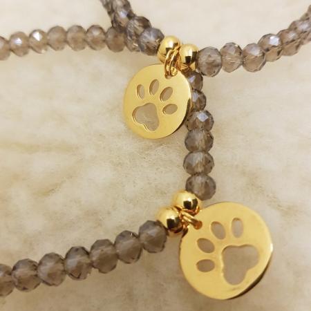 Elbhunde Dresden Armband gold Pfote Grau