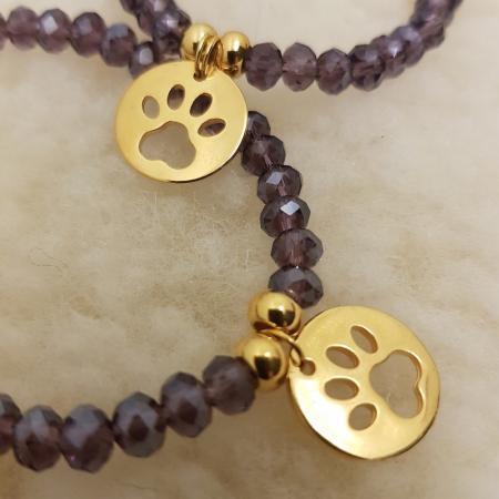 Elbhunde Dresden Armband gold Pfote Violett