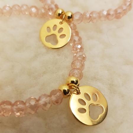 Elbhunde Dresden Armband gold Pfote Rosa