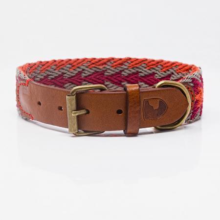 Elbhunde Dresden Buddys Dogwear Peruvian Arrow Orange Halsband Leder